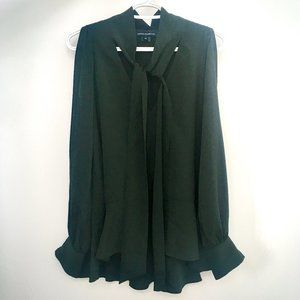 French Connection Dark Green Tie Neck Blouse
